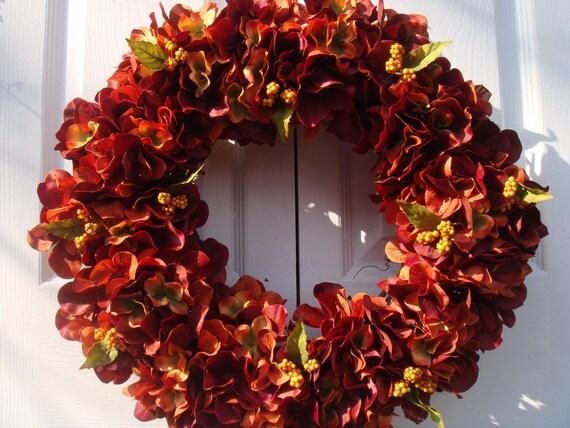 Burnt Orange Hydrangea Wreath Fall Wreath Autumn Wreath