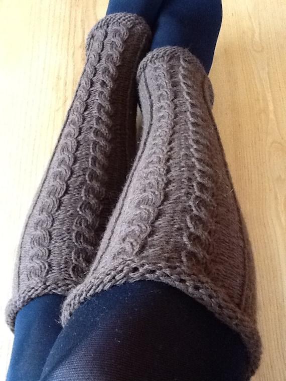 Handknit  cable women woollen leg warmers chocolate brown