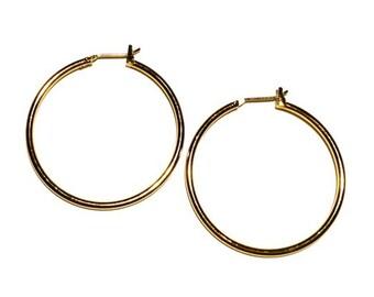 """Gold Hoops, 1 1/2"""" Hoops, Ear Wire, Gold Earring"""