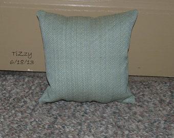 "Muted Blue/Tan Striped Decorative Pillow - 11""x11"""
