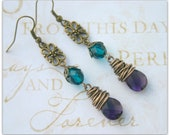 Boho Wire Wrapped Briolette Purple and Teal Dangle Antique Brass Earrings