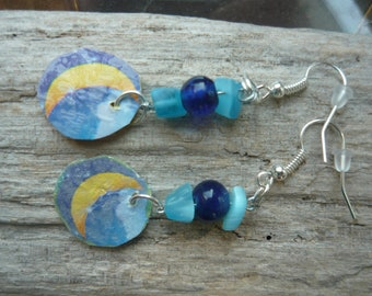Moon and Stars Earrings. Fused Plastic: Made from recycled plastic bags