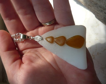 Large RARE Milk Glass Beach Glass Necklace with Light Brown Teardrop Beach Glass Attached