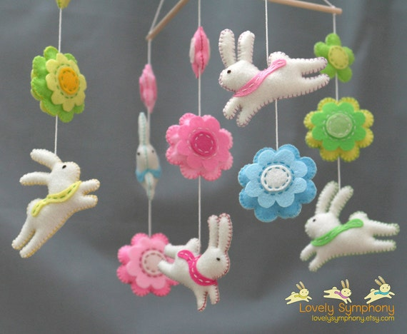 Rabbits and flowers baby mobile - bunnies and flowers baby mobile - spring baby mobile
