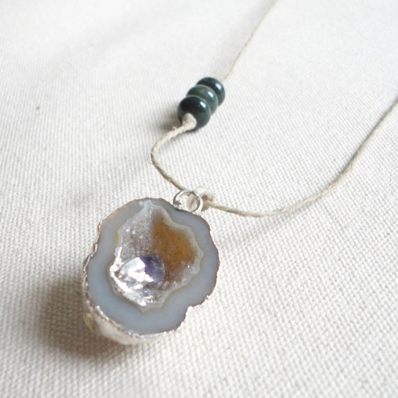 Long Necklace - Agate Slab Pendant - Amethyst with Agate - Hemp Necklace - Chakra - Minerals