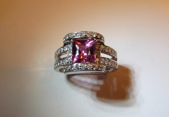 RESERVED for G 18K Pink Tourmaline Diamond Ring White Gold