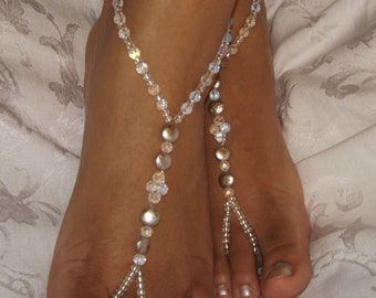 Champagne Barefoot Sandal Silver Luster Barefoot Sandal Foot Jewelry  ONE PAIR