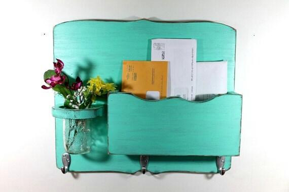 Large Mail Organizer, shabby chic, floral vase, mail holder, key hooks, mail holder, wood, distressed, vintage, home decor,painted Aqua Blue