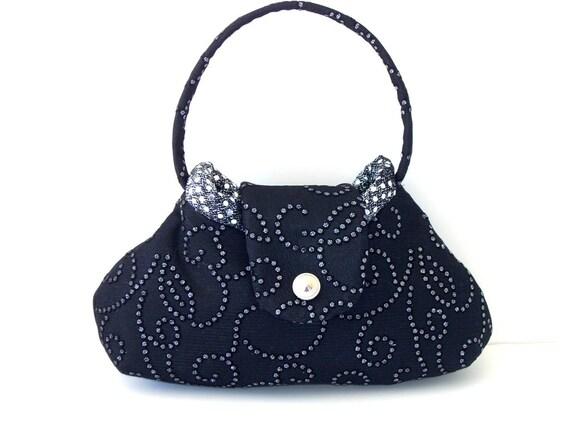 Small Elegant Swirly Sparkly Black Silver CarolJoyFashions, SPrin