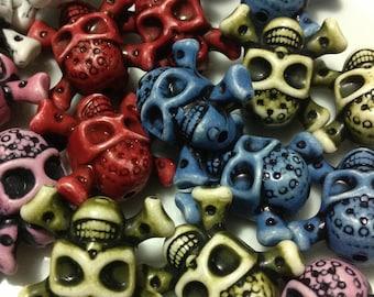 50pcs Antique Acrylic Skulls, Skulls, Halloween Basketball Wives Pirate Skull Beads