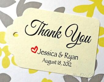 Custom Thank You Wedding Favor Tags - Cream Cardstock