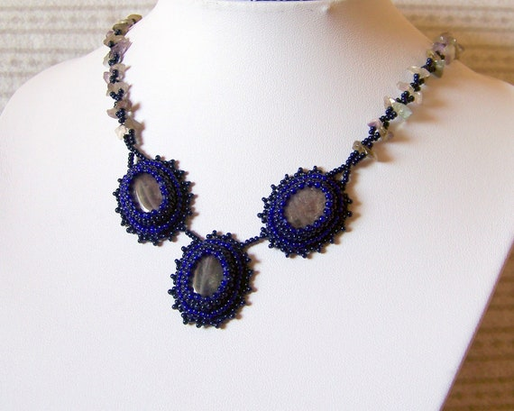 Blue amethyst - Set - Bead Embroidered Necklace And Earrings