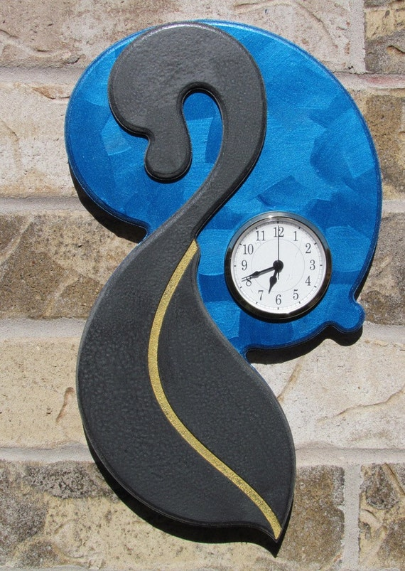 Wall  Clock Metallic Blue on Pewter with Gold
