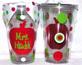 Personalized Custom acrylic tumbler Cup w/ Straw Polka Dots Apple Teacher