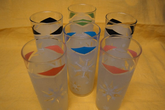 Atomic Glassware Snowflake Frosted Iced Tea  Glasses Tumblers - Set of 6