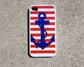 Nautical Sailor Red Stripe Navy Anchor iPhone 4/4s iPod Touch Case