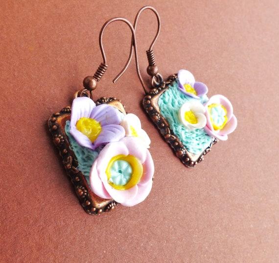 Vintage Summer Cute Dangle Polymer Clay Earrings with tender little flowers
