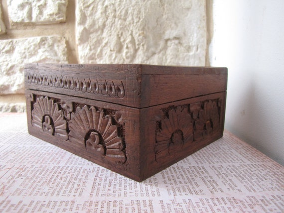 1960's Hand-carved Wooden Cigar Box- French