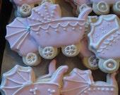 Reserved for Laura - Baby Shower Carriage Vanilla Sugar Cookies - 4 Dozen Assorted Designs