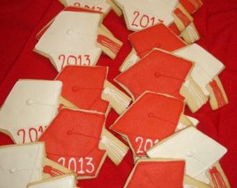 Celebration, Convocation, Graduation Hats, Graduation Caps Decorated Sugar Cookies - 1 Dozen