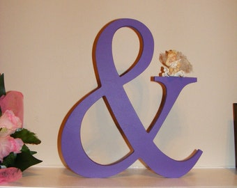 """Ampersand Sign - Wooden Ampersand - You and Me - And Sign - Wedding Decor - Mr and Mrs Sign - Wall Hanging 12"""" Painted Ampersand"""