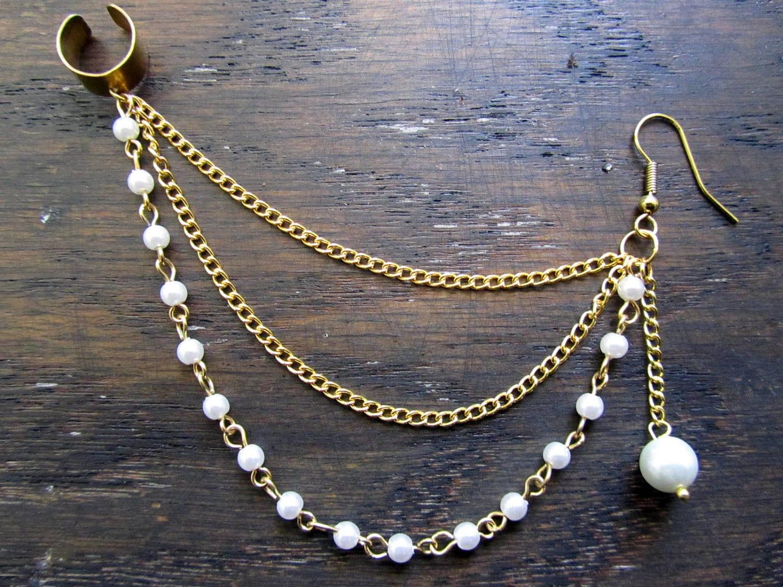 Pearl chain ear cuff ear cuff earring chain ear cuff by byuma
