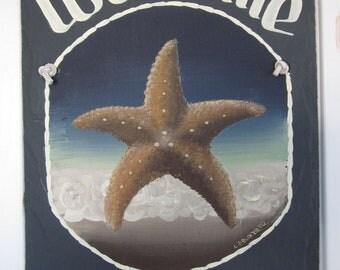 Handpainted Personalized Starfish Nautical Slate Welcome Sign