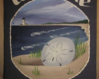 Handpainted Personalized Sanddollar Beach Nautical Slate Welcome Sign Large