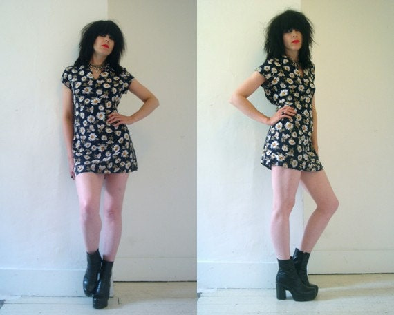 90s grunge flower print  mini dress