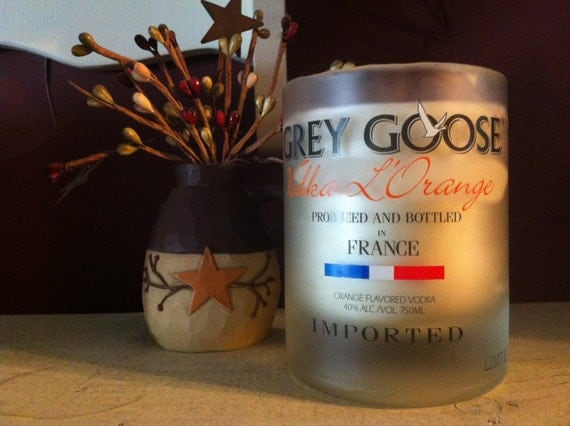 "Orange Scented Soy Candle in Upcycled Grey Goose ""L'Orange"" Bottle"