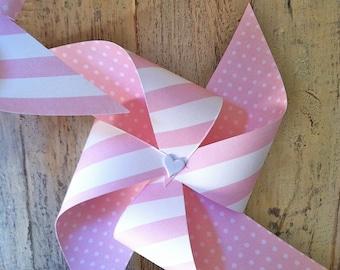 Pinwheels - Pink n White Striped with Heart center - set of 6 Piwheels