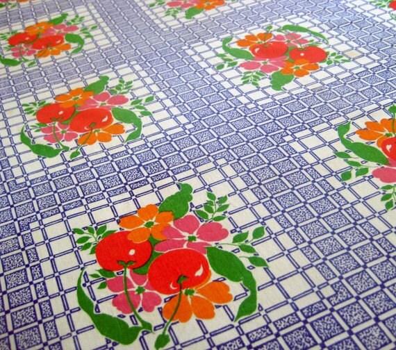 Vintage Cotton Table Cloth Blue Cherries Design MID CENTURY Kitsch