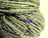 Handspun hand dyed bulky alpaca, merino and silk knitting yarn / wool  'CLOVER LEAF'