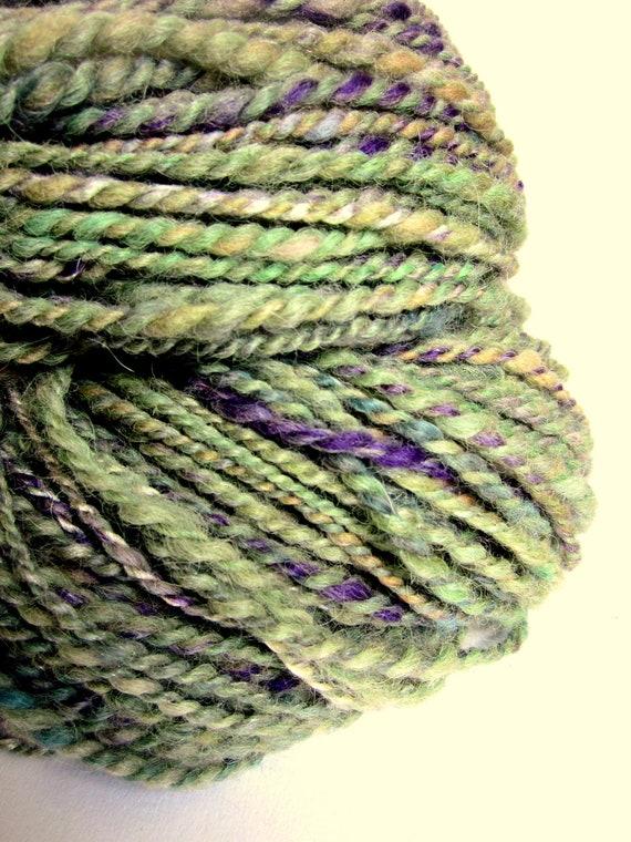 Handspun hand dyed bulky alpaca, merino and silk knitting yarn / wool  'CLOVER LEAF'