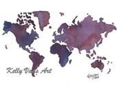 Watercolor World Map, Violets, 11x14 Print
