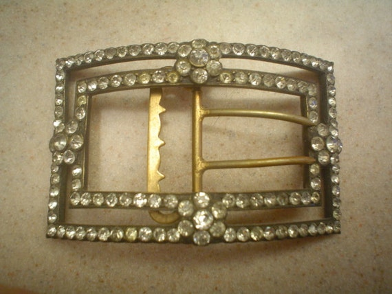 SALE Beautiful Huge Victorian French Paste Buckle