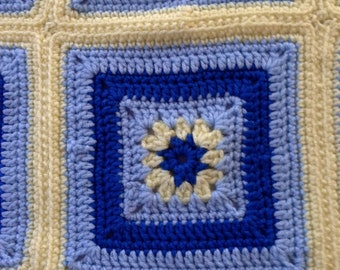 Blue & Yellow Granny Square Baby Blanket