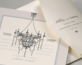 Vintage Chandelier Wedding Invitation, Vintage Wedding Invitation, Classic Wedding Invitation, Elegant Wedding Invitation