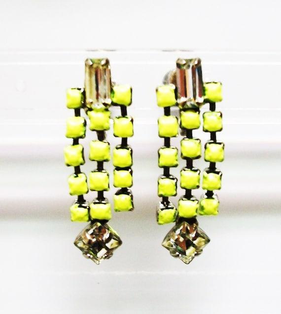 Neon Yellow Earrings Vintage 1950s One Of a Kind Hand Painted Neon Yellow Rhinestone Earrings