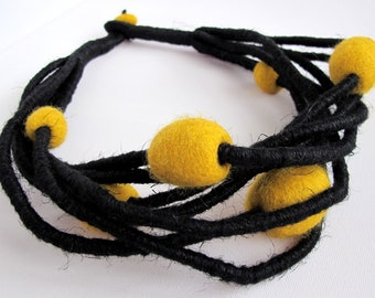 Felt Unique Black Linen String Necklace with Mustard Felted Pebble Beads Jewelry Merino Wool