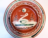Vintage Mexican pottery decorative plate - bird