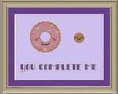 You complete me: cute doughnut cross-stitch pattern