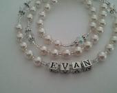 Personalized White Boy/Girl Catholic Rosary/White Swarovski Pearl  Rosary
