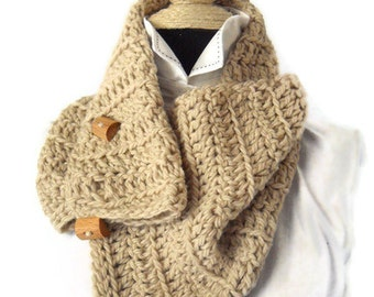 Chunky Crochet Cowl Scarf  with buttons Neckwarmer Cowl Accessories Crochet Natural Tan Beige