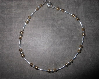 Gold and Silver Bead And Tube Anklet
