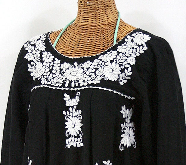long sleeve mexican peasant blouse top hand by sirenology