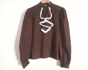 70s vintage women polyester large brown shirt seventies