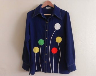 70s vintage women's xl polyester shirt with balloon patches