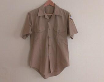 70s vintage men's medium military shirt