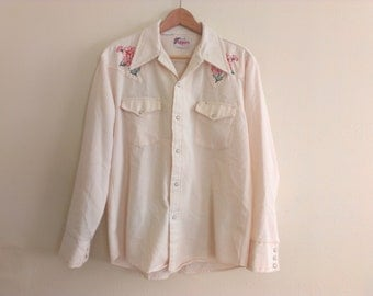 70s vintage men's large western shirt some faint spots